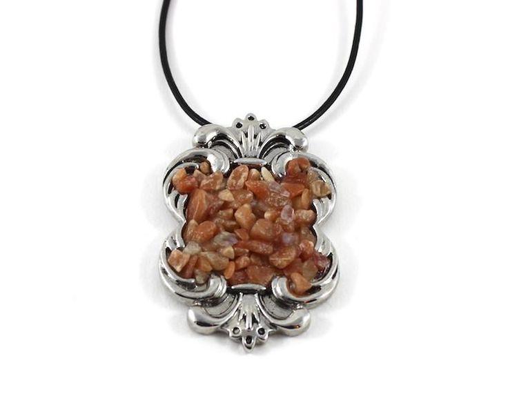Scroll Pendant Aventurine Chakra Crystals on Adjustable Black Leather Rope Necklace