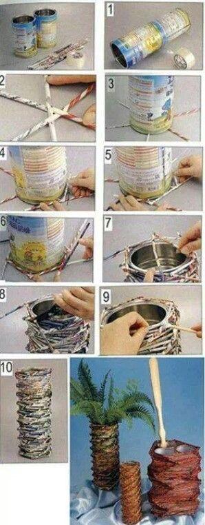 Vase aus einer alten Dose mit Stückchen umklebt und bemalt