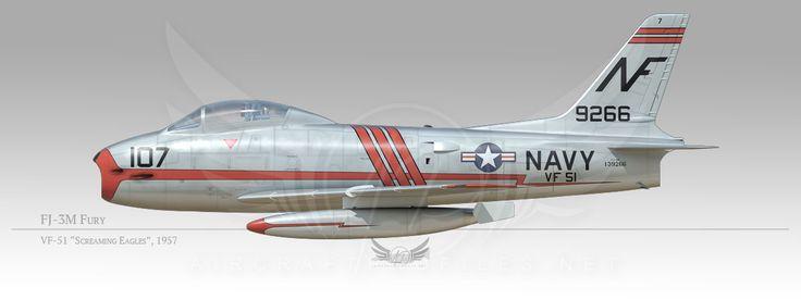 """FJ-3M Fury, VF-51 """"Screaming eagfles"""", 1957"""