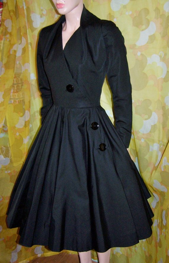 Mad Men 50s Cocktail Dress Jacques Fath by GreenMarketVintage