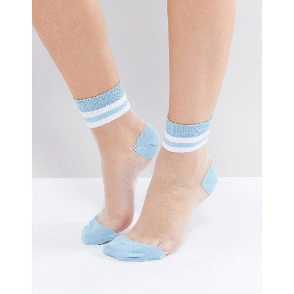 ASOS Sheer Stripe Ankle Socks ($5.15) ❤ liked on Polyvore featuring intimates, hosiery, socks, blue, sheer hosiery, asos socks, cuff socks, striped socks and short socks