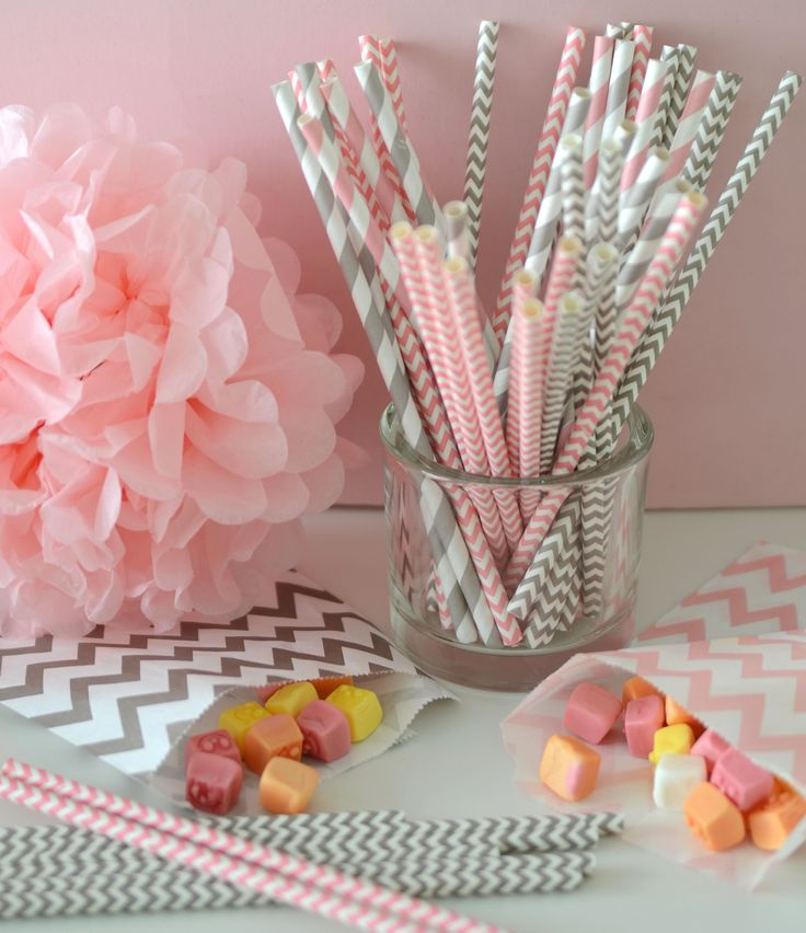 pink party, girls, paper straw