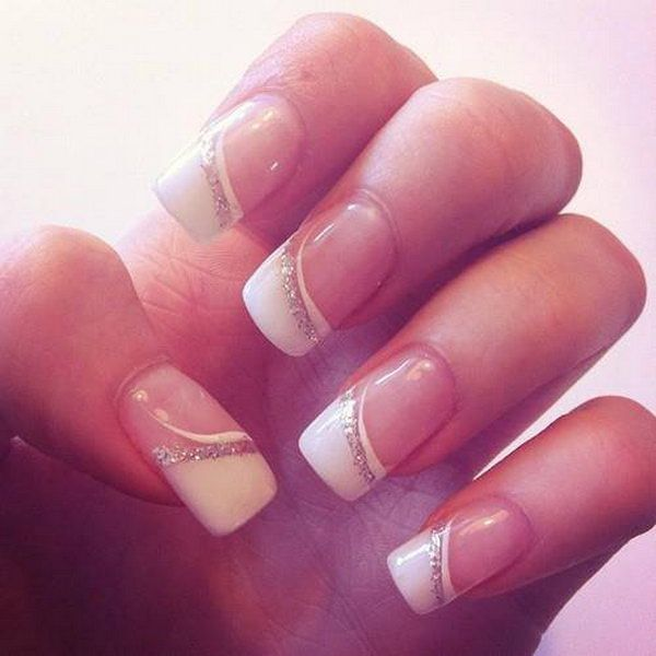 White and Glitter French Nail for Wedding.