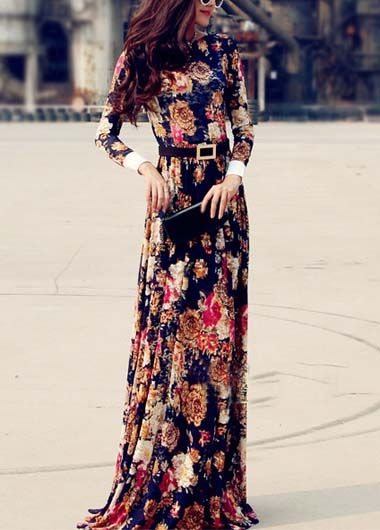 High Waist Design Long Sleeve Maxi Dress