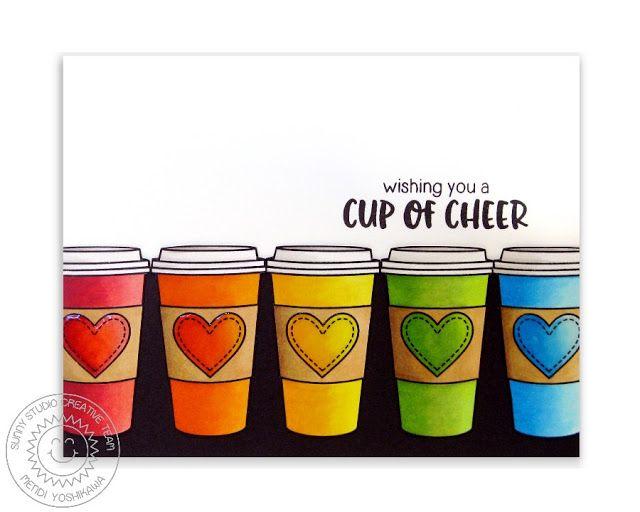 Sunny Studio Stamps: Mug Hugs Cup of Cheer Rainbow Coffee Card by Mendi Yoshikawa