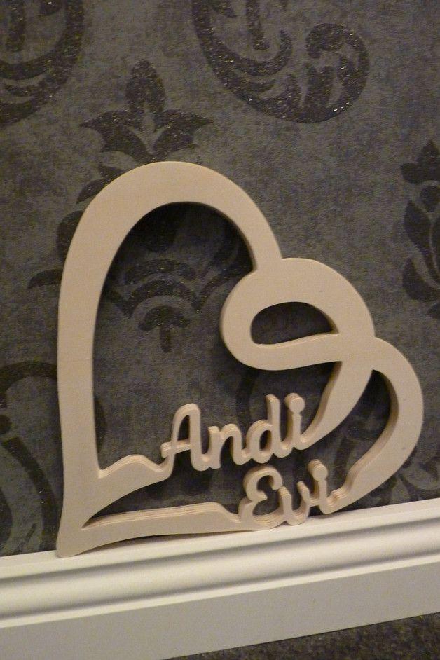 Herz mit Namen aus Holz Dekoration für dein Schreibtisch - Schreibtisch Im Schlafzimmer