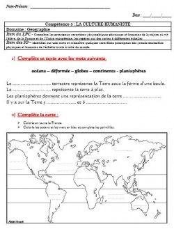 Eval géographie cm1