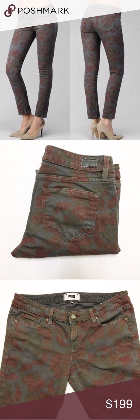 """Paige Size 29 Lola Skyline Ankle Peg Jeans Item: Paige Lola Skyline Ankle Peg Jeans   - Size: 29 - Material: - Condition: GUC - Color: Gray with Red Floral - Style: Skyline Ankle Peg  *Measurements:  Waist: 16.5""""  Leg Opening: 6"""" Rise: 8.25"""" Inseam: 29"""" Paige Jeans Jeans Ankle & Cropped"""