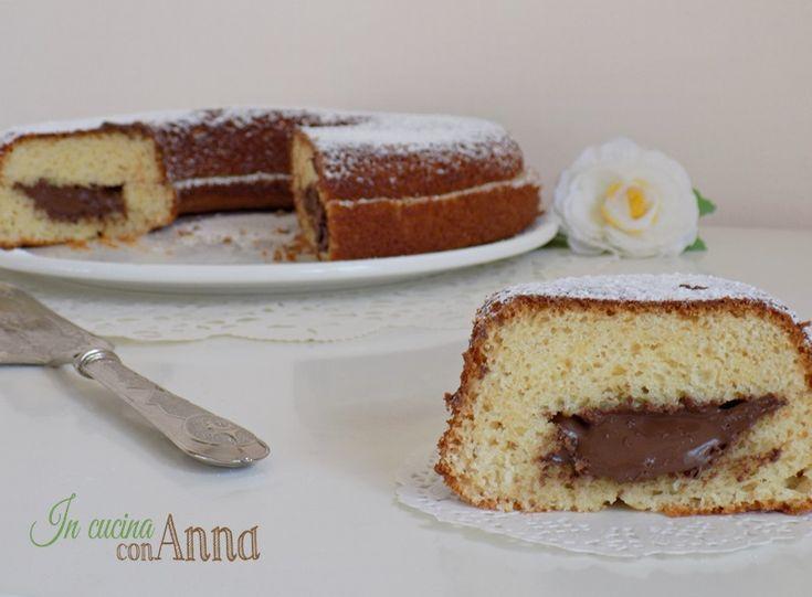 torta soffice con cuore alla nutella