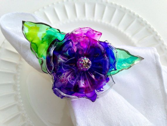 Purple Napkin Ring Set Home decor flower with by ArtePlastique