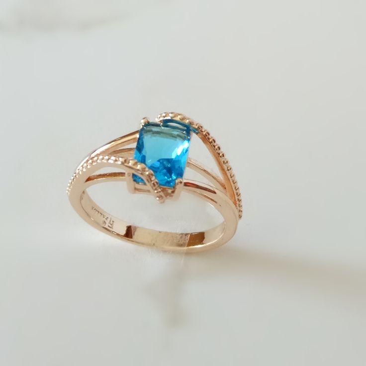New Trendy Rose Gold Plated Jewelry Women Ring Fashion 585 Gold Jewellery Light Blue Cubic Zircon  Women Wedding Rings