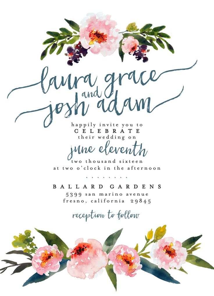 Watercolor Floral Wedding Invitation // Printable, Custom, DIY Wedding // Boho Chic Invite // Bright and cheerful, amazingly cute for a Spring or Summer wedding! Love the calligraphy font as well.