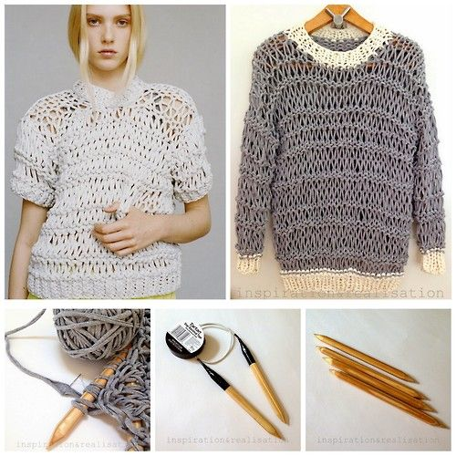 DIY Tee Shirt Yarn Sweater Tutorial and Pattern from inspiration&realisation. Top Left Photo: Richard Nicoll Resort 2015 Top Right Photo and Bottom Photos: DIYs by inspiration&realisation.