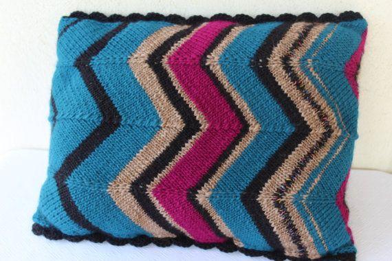 Stripes Decorative Pillow Case  Muticolor Knit by ManibusFacta