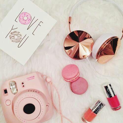 pretty, pink, gold, polaroid, camera, macrons, love you