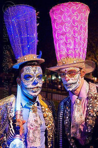 blue and pink matador costumes, blue hat, carnival hat, costume, day of the dead, dia de los muertos, face painting, facepaint, halloween, hats, large hat, makeup, men, night, people, pink hat, rebar, skull makeup, sugar skull makeup, suliman nawid