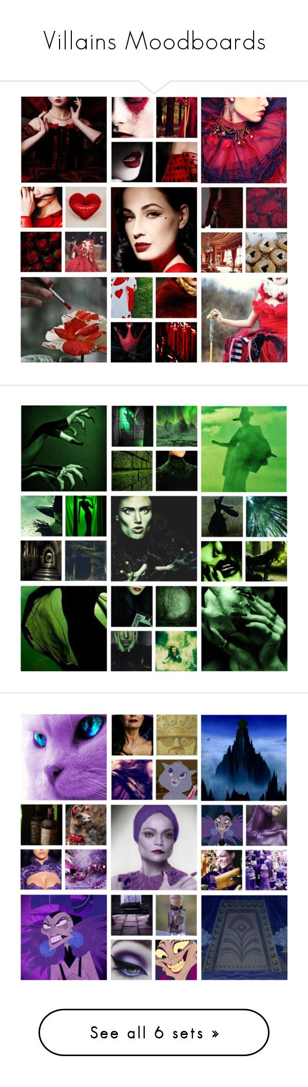 """Villains Moodboards"" by sugarpixielh ❤ liked on Polyvore featuring art, disney, dreamcast, DitaVonTeese, DisneyVillians, QueenOfHearts, yzma, maleficent, ouat and evilqueen"