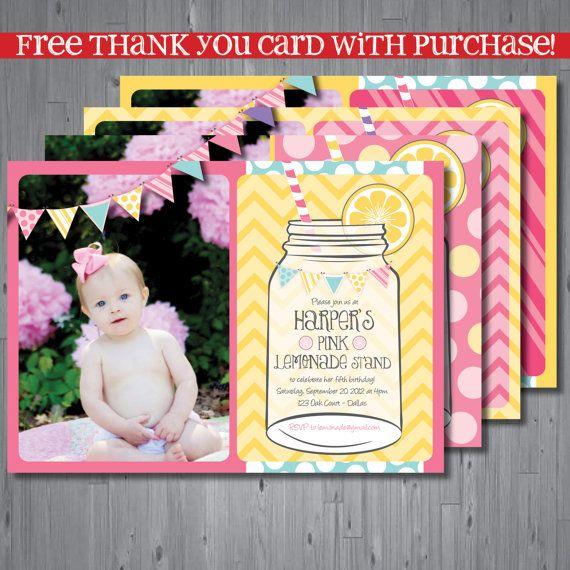 lemonade Birthday Invitation, first birthday party invitation, lemonade stand, party invitation printable, FREE thank you card