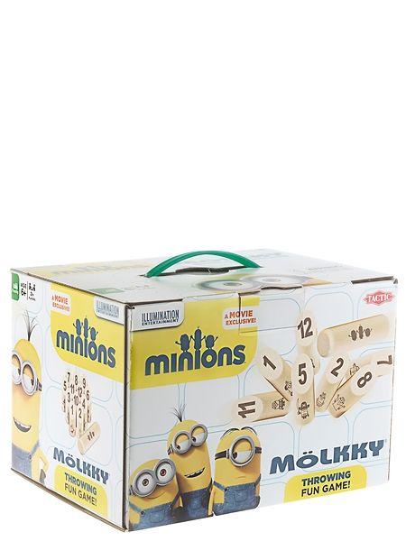 Kaada kätyrit kumoon! Vekkulit Minions-hahmot seikkailevat nyt tutussa Mölkky-pihapelissä. Heitä mölkkykapulalla pystyyn asetettuja keiloja ja yritä kerätä mahdollisimman paljon pisteitä. Ensimmäisenä tasan 50 pistettä saanut pelaaja voittaa. Säännöt on helppo oppia, mutta peli sisältää silti jännittäviä käänteitä! Pelin kesto 30+ minuuttia.