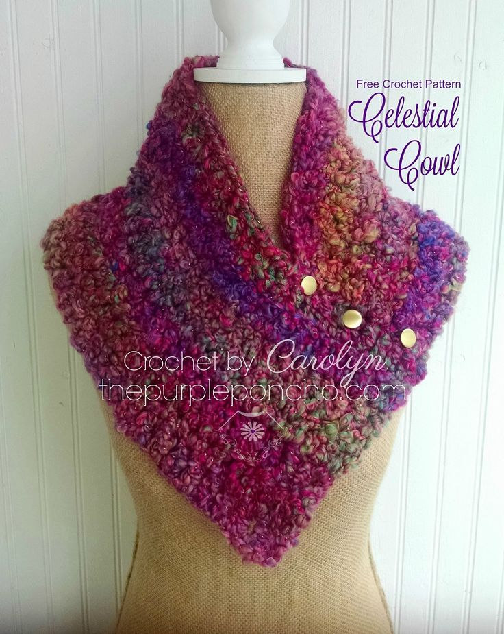 The Celestial Cowl is an easy design and great for beginners. The stitch is repetitive and the yarn does all the work. Made with Red Heart Stellar makes it a fast project to make and wear right awa…