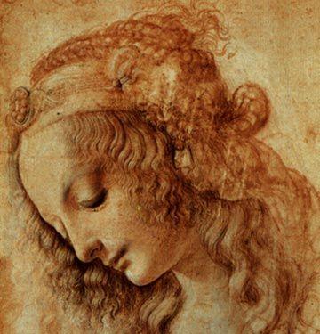 mediterende jonge vrouw (schets van Leonardo da Vinci)
