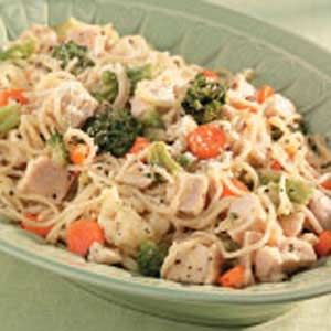 Healthy Eating - Chicken Pasta Primavera - 1-1/3 cups equals 342 calories, 5 g fat (2 g saturated fat), 78 mg cholesterol, 526 mg sodium, 36 g carbohydrate, 4 g fiber, 35 g protein.  6 servings
