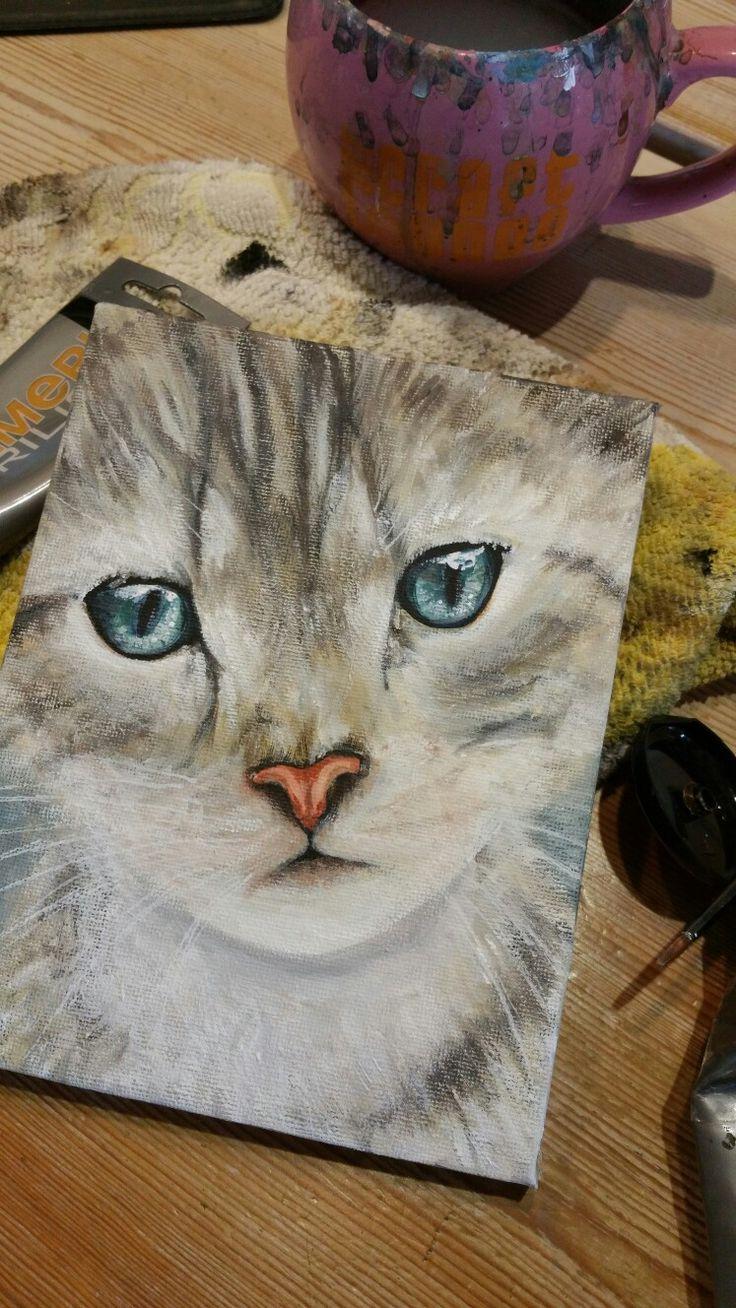 Cat  Acrylic on canvas 14x18 cm