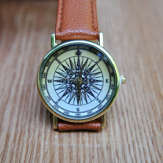 Compass Watch  Travel Gift  Travel Watch  World Map by AyoBijou
