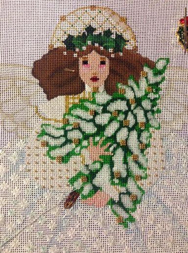 Melissa Shirley Winter White Angel needlepoint (in progress)