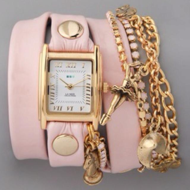 pink wrap bracelet/watch