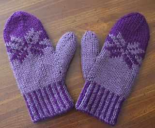 These mittens are knit in double knit stitch on double point needles. There is a color chart to follow as well as written directions. There are instructions for a smaller size as well.