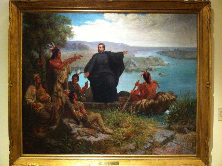 Pere Marquette and the Indians, 1869. Not a great work of art, but the artist got a lot in there.: History, Michigan, Http Go Mu Edu Fathermarquette, Art, Indian, Painting