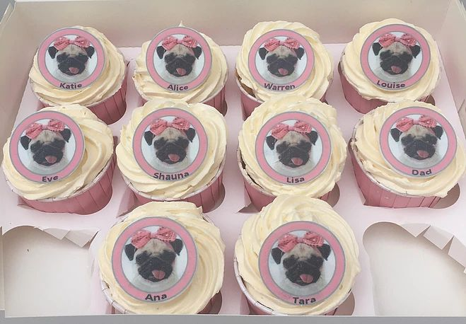 Pug cupcakes.  Personalised edible cupcakes.  Can be made in any colour or design.  The Cake Lab Bakery, Ranelagh, Dublin, Ireland. Artisan Baking Studio.