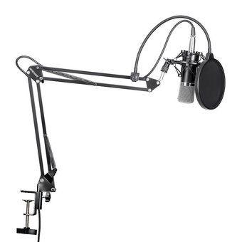 Micrófono MIC de Condensador Mic Studio Radio Sonido Grabación con Soporte Set