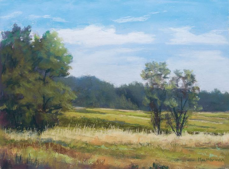 Fields in the springtime by Olli Malmivaara, soft pastel painting on sanded paper, 23 x 30 cm