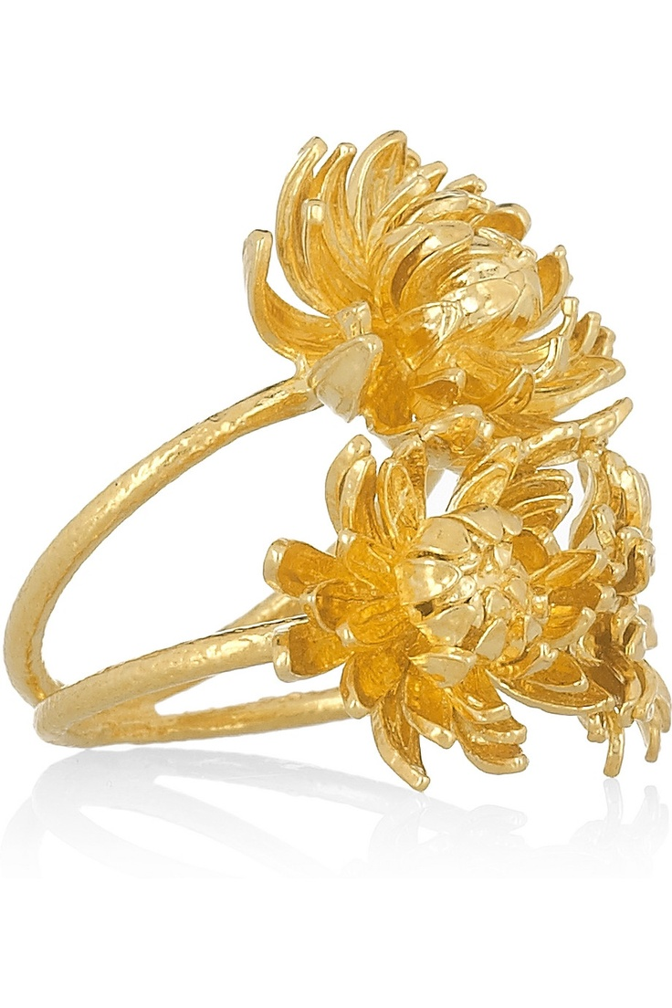 Alex Monroe 22k gold-plated chrysanthemum ring