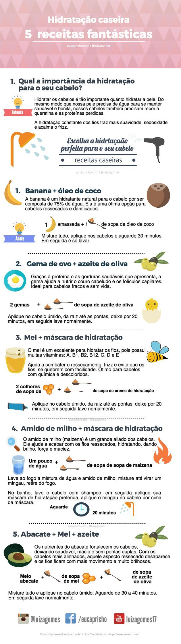 5 receitas de hidratação caseira para cabelos hidratação com mel hidratação com oleo de coco hidratação com abacate hidratação com iogurte hidratação com maizena