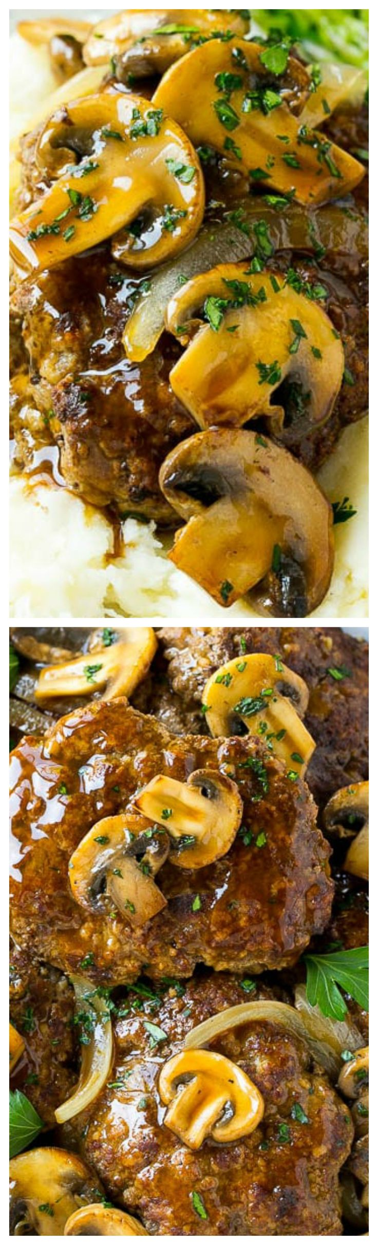 Slow Cooker Salisbury Steak ~ Tender beef patties topped with mushroom gravy... Classic comfort food that's super simple to make!