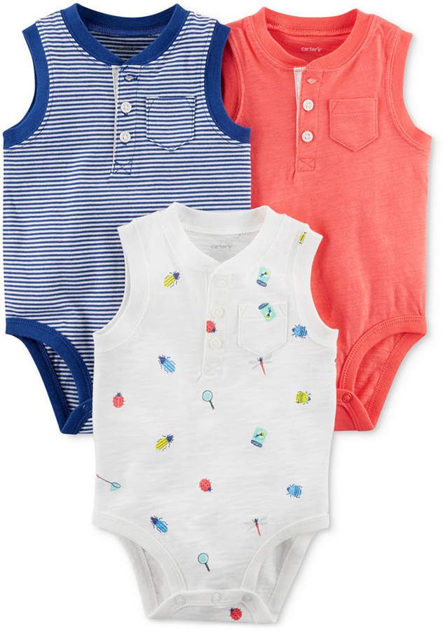 9d50b3878ae5a 3-Pack Printed Cotton Bodysuits, Baby Boys #days#sunny#printed ...