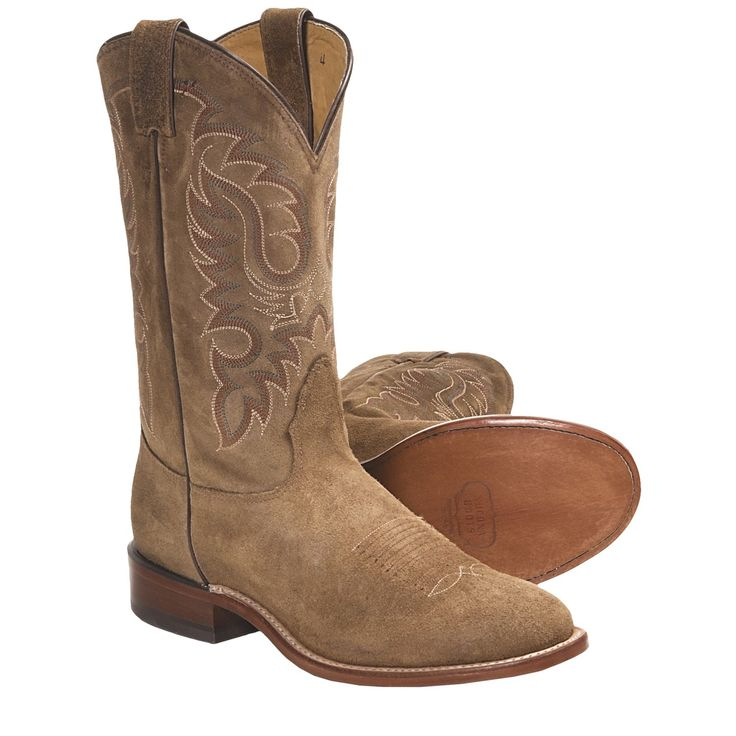 suede Cowboy Boots For Men | ... Waxy Suede Cowboy Boots - Round Toe, Walking Heel (For Men) in Teak