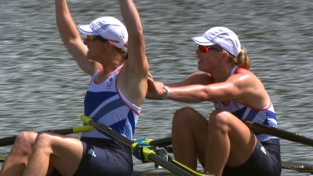 Great Britain won its fourth Olympic gold in 24 hours - and sixth in total - as Katherine Grainger and Anna Watkins triumphed in the women's double sculls.