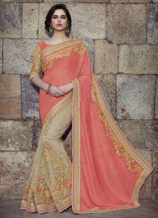 Tomato Red Beige Embroidery Zari Work Silk Net Wedding Sarees http://www.angelnx.com/Sarees/Wedding-Sarees