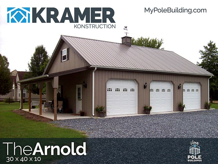 The Arnold - 30 x 40 x 10 View, configure and price this building at http://www.MyPoleBuilding.com/