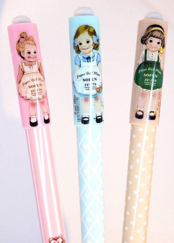 Kawaii PAPER DOLL MATE Japan cute doll gel pen by MyChildhoodDream