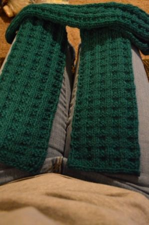 One of my scarf projects. Waffle pattern