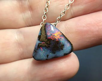 Boulder opal. Beautiful Opal. Red Opal. Opal necklace. Boulder