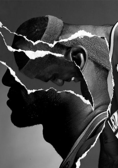 Texture. Layers of meaning/perspective/character. Rough. Raw. Real. Insight into James Lebron.  (Nike Basketball Illustrations - Hort Magazine. artist unknown)