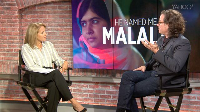 """Yahoo Global News Anchor Katie Couric sat down with Oscar Award-winning director Davis Guggenheim to talk about his new film, """"He Named Me Malala."""""""