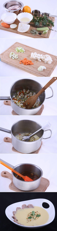Суп-крем из сельдерея с филе утки. Очень вкусное и полезное блюдо французской кухни средней сложности. На приготовление уйдет 45 минут (не считая подготовки куриного бульона). Полный список ингредиентов и способ приготовления блюда вы можете увидеть на...http://vk.com/dinnerday; http://instagram.com/dinnerday #dinnerday