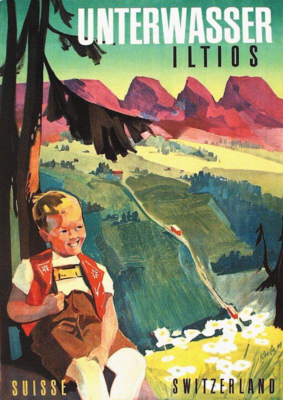 Plakat für die Drahtseilbahn Unterwasser - Iltios im Obertoggenburg. Gestaltung: Alfred Koella.
